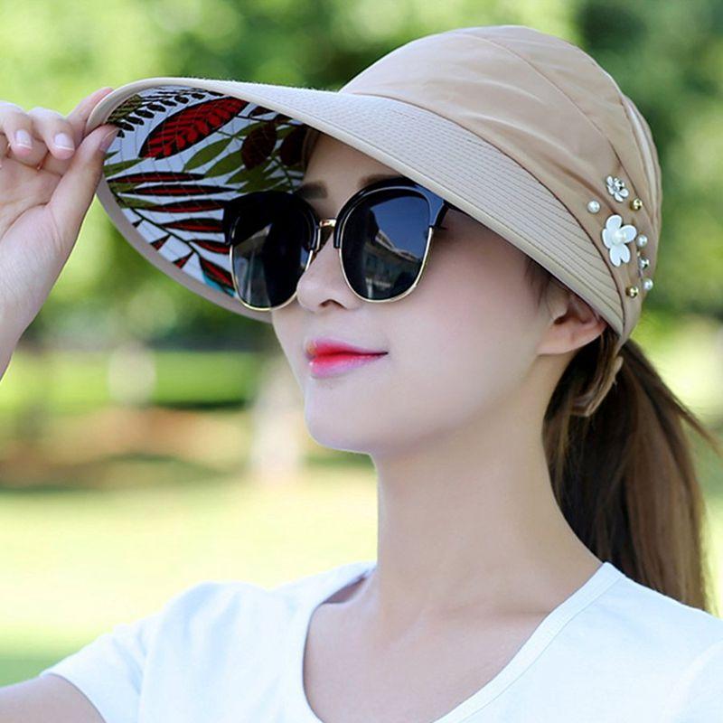 1X-Chapeau-de-soleil-Chapeau-de-plage-pliable-pour-dames-Chapeau-de-visiere-D2M9 miniature 25