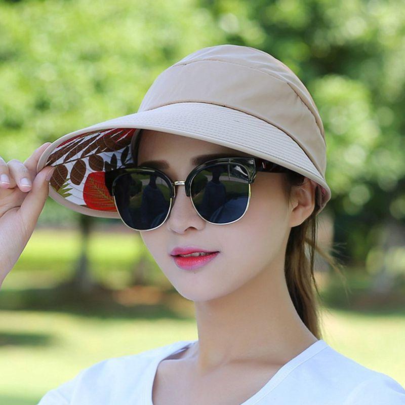 1X-Chapeau-de-soleil-Chapeau-de-plage-pliable-pour-dames-Chapeau-de-visiere-D2M9 miniature 26