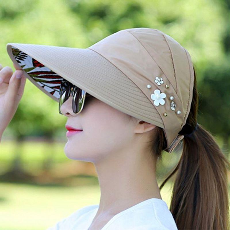 1X-Chapeau-de-soleil-Chapeau-de-plage-pliable-pour-dames-Chapeau-de-visiere-D2M9 miniature 28
