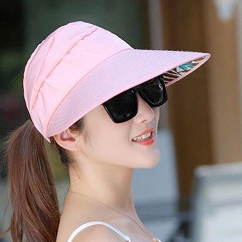 1X-Chapeau-de-soleil-Chapeau-de-plage-pliable-pour-dames-Chapeau-de-visiere-D2M9 miniature 32
