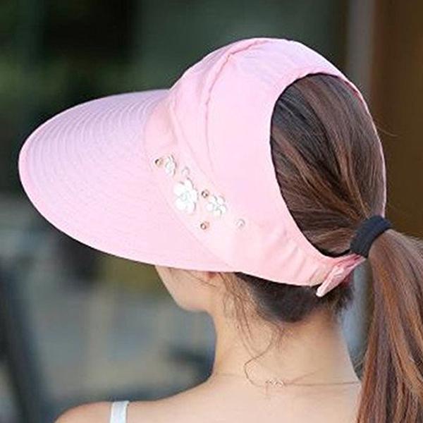 1X-Chapeau-de-soleil-Chapeau-de-plage-pliable-pour-dames-Chapeau-de-visiere-D2M9 miniature 33