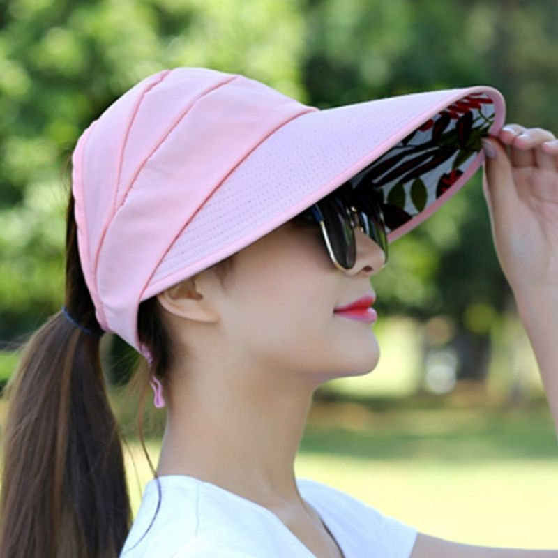 1X-Chapeau-de-soleil-Chapeau-de-plage-pliable-pour-dames-Chapeau-de-visiere-D2M9 miniature 34