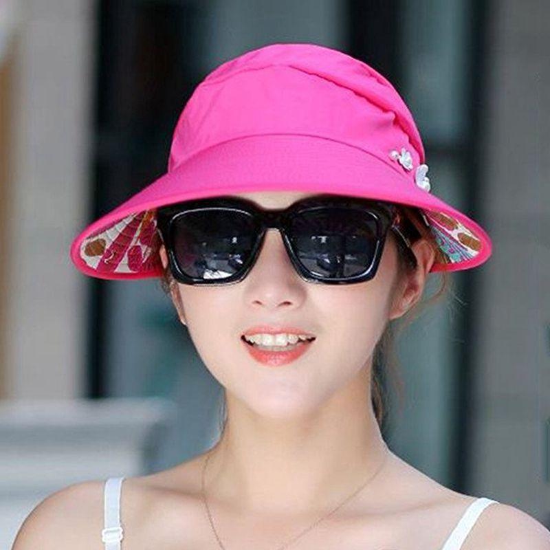 1X-Chapeau-de-soleil-Chapeau-de-plage-pliable-pour-dames-Chapeau-de-visiere-D2M9 miniature 37