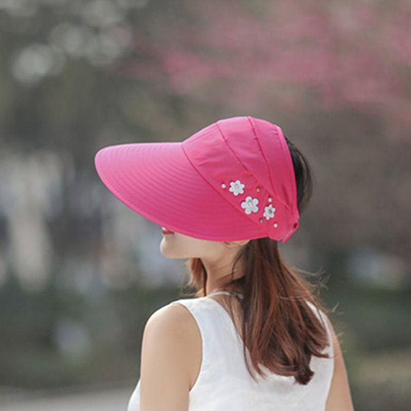 1X-Chapeau-de-soleil-Chapeau-de-plage-pliable-pour-dames-Chapeau-de-visiere-D2M9 miniature 38