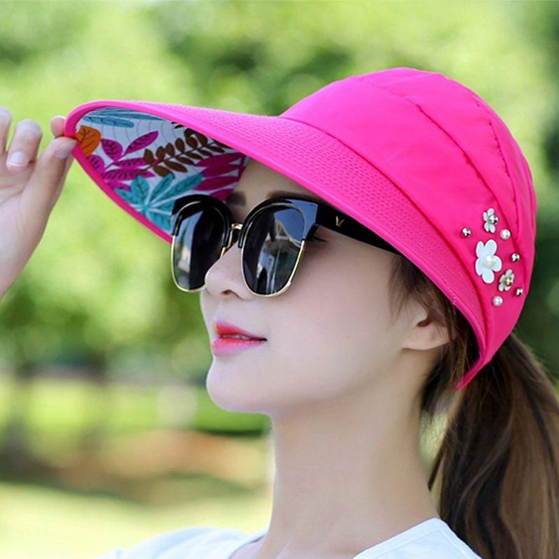 1X-Chapeau-de-soleil-Chapeau-de-plage-pliable-pour-dames-Chapeau-de-visiere-D2M9 miniature 39