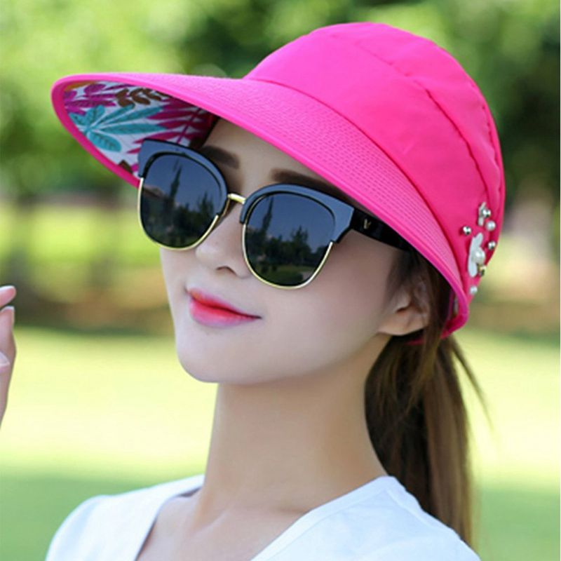 1X-Chapeau-de-soleil-Chapeau-de-plage-pliable-pour-dames-Chapeau-de-visiere-D2M9 miniature 40