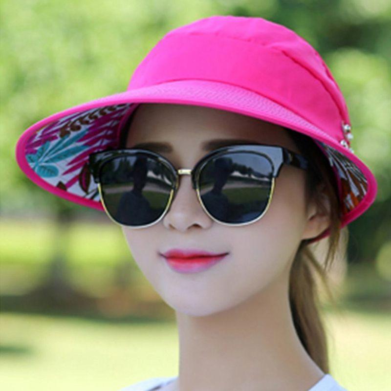 1X-Chapeau-de-soleil-Chapeau-de-plage-pliable-pour-dames-Chapeau-de-visiere-D2M9 miniature 41