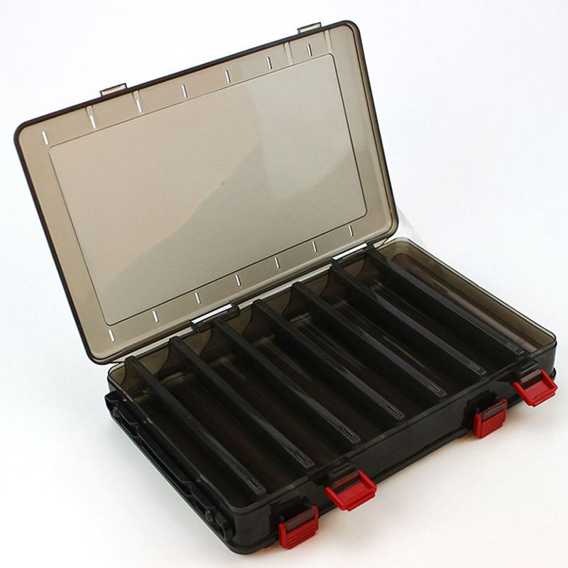 10X(Fishing Double-side Bait Box PP 18.5x27.5x5cm 14 space Plastic Storage  1E1)
