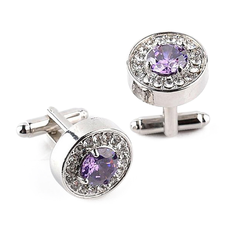 1 Pair Fashion Diamond Cufflinks Cuff Links Womens Mens Dress Business Wedd Q8V3