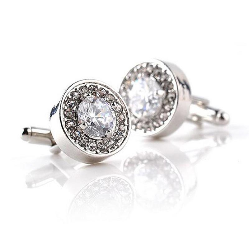 5X-1-Pair-Fashion-Diamond-Cufflinks-Cuff-Links-Womens-Mens-Dress-Business-Wed-MO