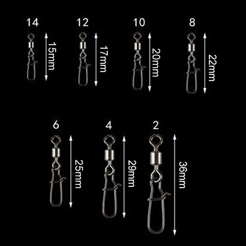 50PCS-Lot-Peche-Connecteur-Pin-portant-Rolling-Pivotant-en-Acier-Inoxydable-Avec miniature 6