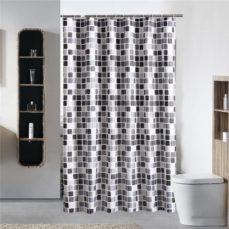 Image Is Loading Black White Gray Plaid Bathtub Bathroom Fabric Shower
