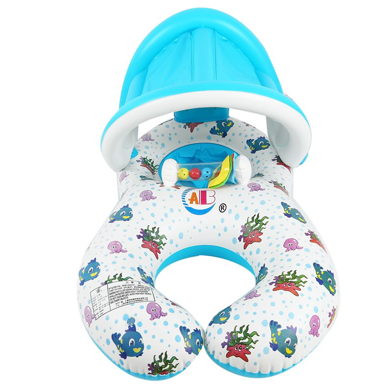 Safe-Soft-Inflatable-Mother-amp-Baby-Swim-Float-Ring-Kids-Seat-Double-Person-Sw-H7V7 miniature 20