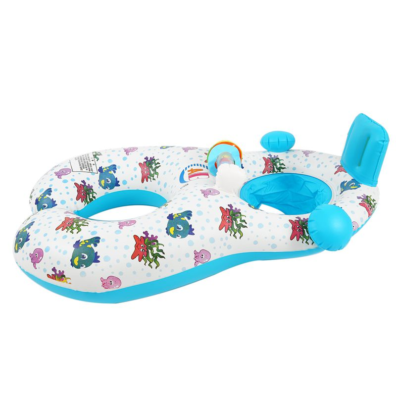 Safe-Soft-Inflatable-Mother-amp-Baby-Swim-Float-Ring-Kids-Seat-Double-Person-Sw-H7V7 miniature 25