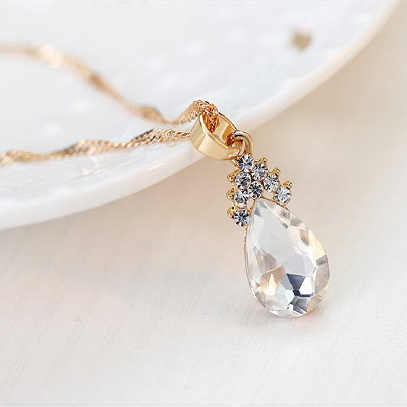 Indexbild 4 - 1X(Halskette Ohrringe Diamant Wassertropfen Elegante Damen Schmuck Set KrisA8E7)