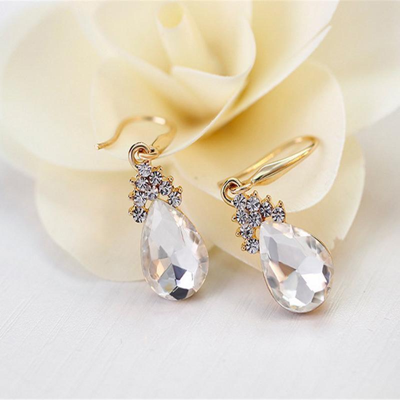 Indexbild 5 - 1X(Halskette Ohrringe Diamant Wassertropfen Elegante Damen Schmuck Set KrisA8E7)