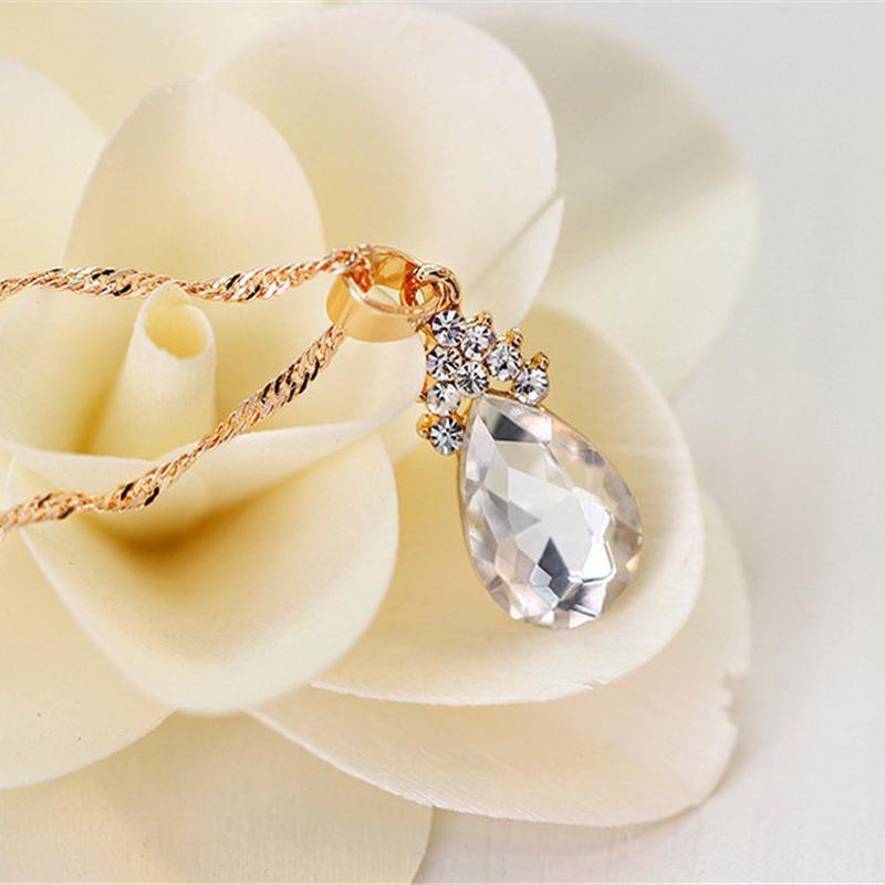 Indexbild 6 - 1X(Halskette Ohrringe Diamant Wassertropfen Elegante Damen Schmuck Set KrisA8E7)