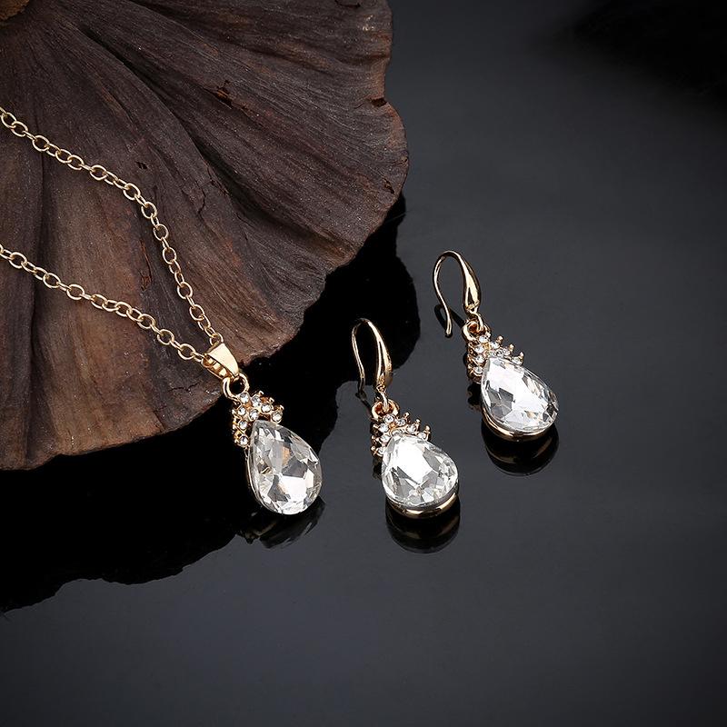 Indexbild 9 - 1X(Halskette Ohrringe Diamant Wassertropfen Elegante Damen Schmuck Set KrisA8E7)