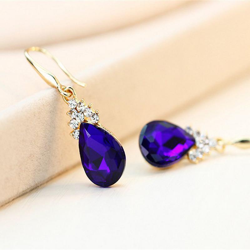 Indexbild 11 - 1X(Halskette Ohrringe Diamant Wassertropfen Elegante Damen Schmuck Set KrisA8E7)