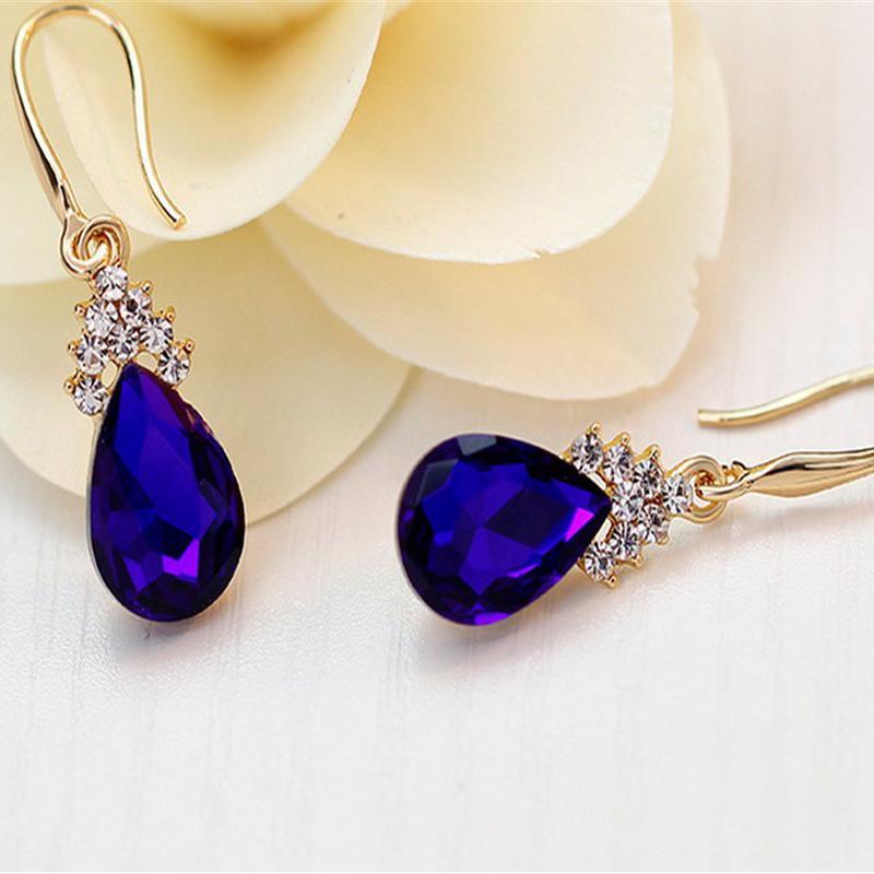 Indexbild 12 - 1X(Halskette Ohrringe Diamant Wassertropfen Elegante Damen Schmuck Set KrisA8E7)