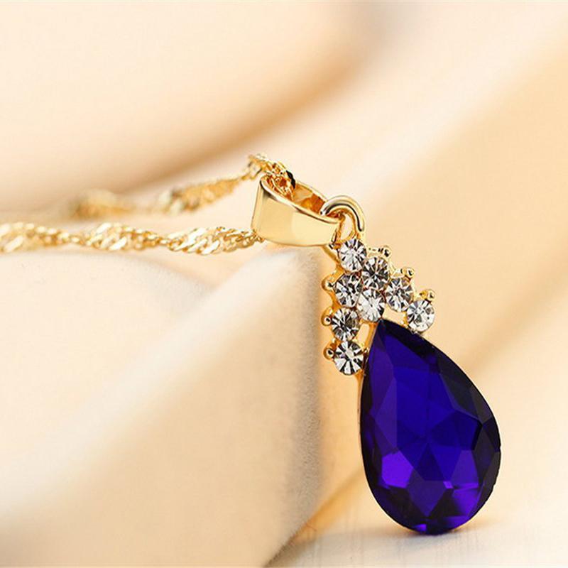 Indexbild 14 - 1X(Halskette Ohrringe Diamant Wassertropfen Elegante Damen Schmuck Set KrisA8E7)