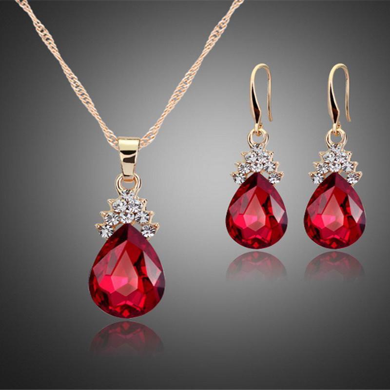 Indexbild 21 - 1X(Halskette Ohrringe Diamant Wassertropfen Elegante Damen Schmuck Set KrisA8E7)