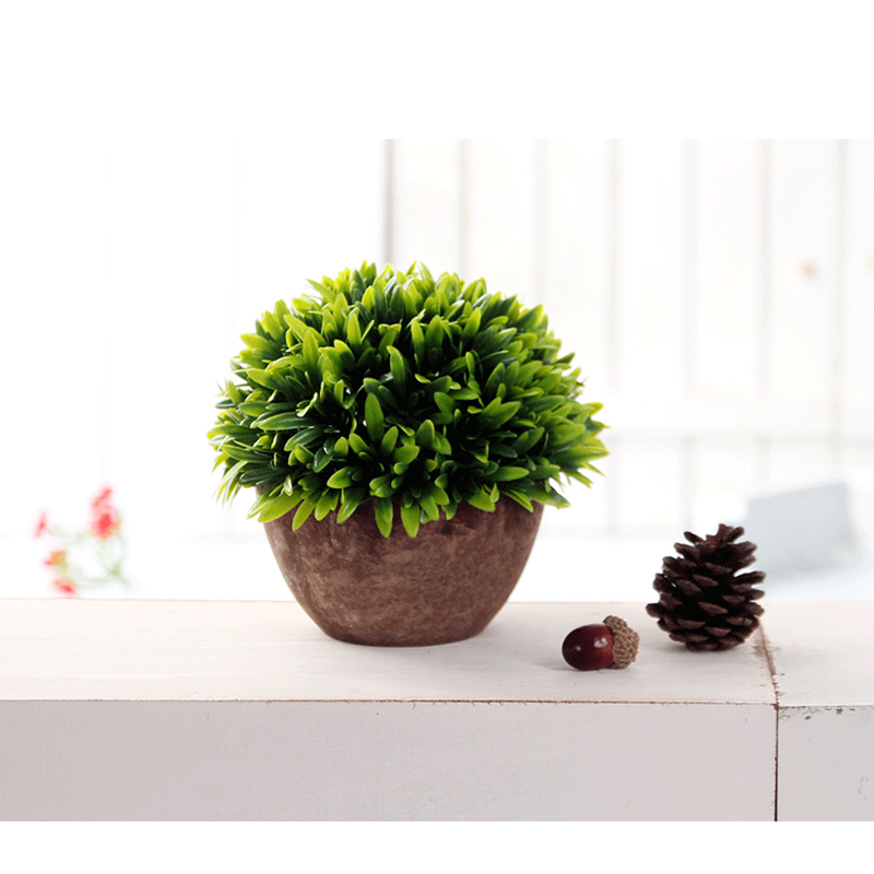 Kunststoff-gefaelschte-kuenstliche-Sukkulenten-Blumentopf-gruenes-Gras-Deko-X9T6 Indexbild 3