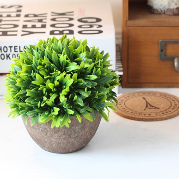 Kunststoff-gefaelschte-kuenstliche-Sukkulenten-Blumentopf-gruenes-Gras-Deko-X9T6 Indexbild 4