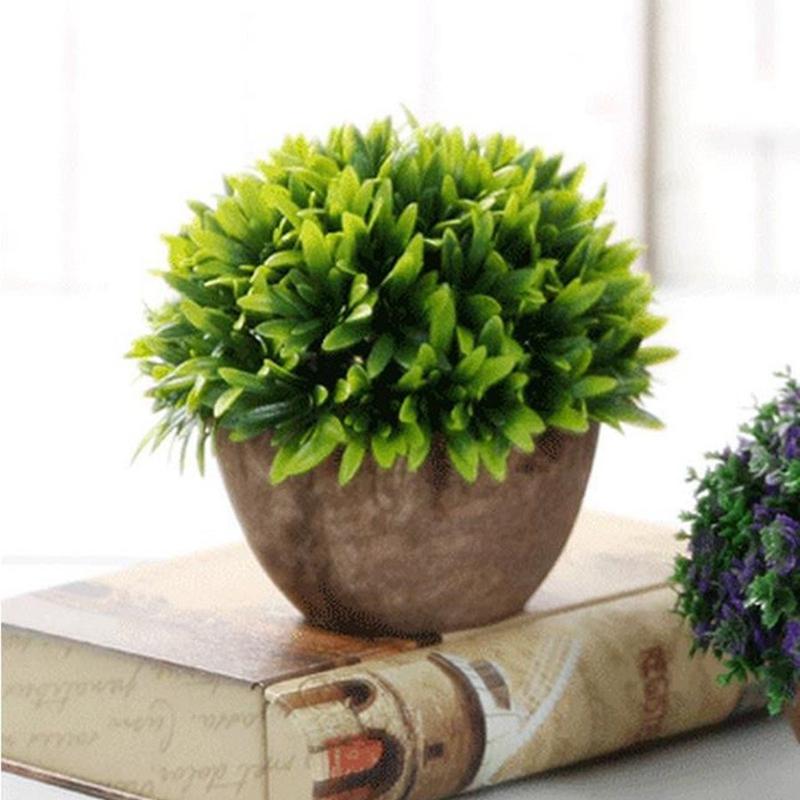 Kunststoff-gefaelschte-kuenstliche-Sukkulenten-Blumentopf-gruenes-Gras-Deko-X9T6 Indexbild 6