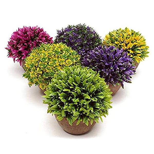 Kunststoff-gefaelschte-kuenstliche-Sukkulenten-Blumentopf-gruenes-Gras-Deko-X9T6 Indexbild 15