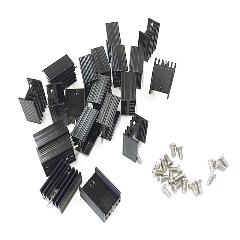 10pcs TO220 Mosfet Black Aluminum Heat Sink 19x12x10mm For  IC Transistors