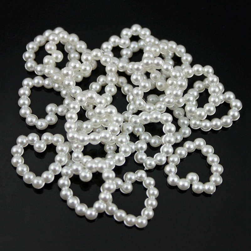 wholesale lots White Acrylic Pearl Imitation Heart Embellishments Wedding