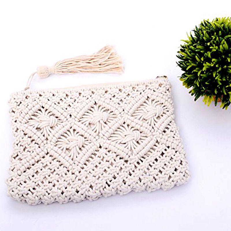 Bolsa bolsillo de algodon hecho a mano fleco cuerda playa hombro ...