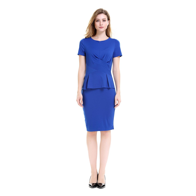 3006f4231 Vestidos de trabajo plisados Vestidos lapiz de verano de oficina de ...