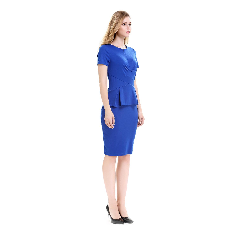 82648caaf 1X(Vestidos de trabajo plisados Vestidos lapiz de verano de oficina ...