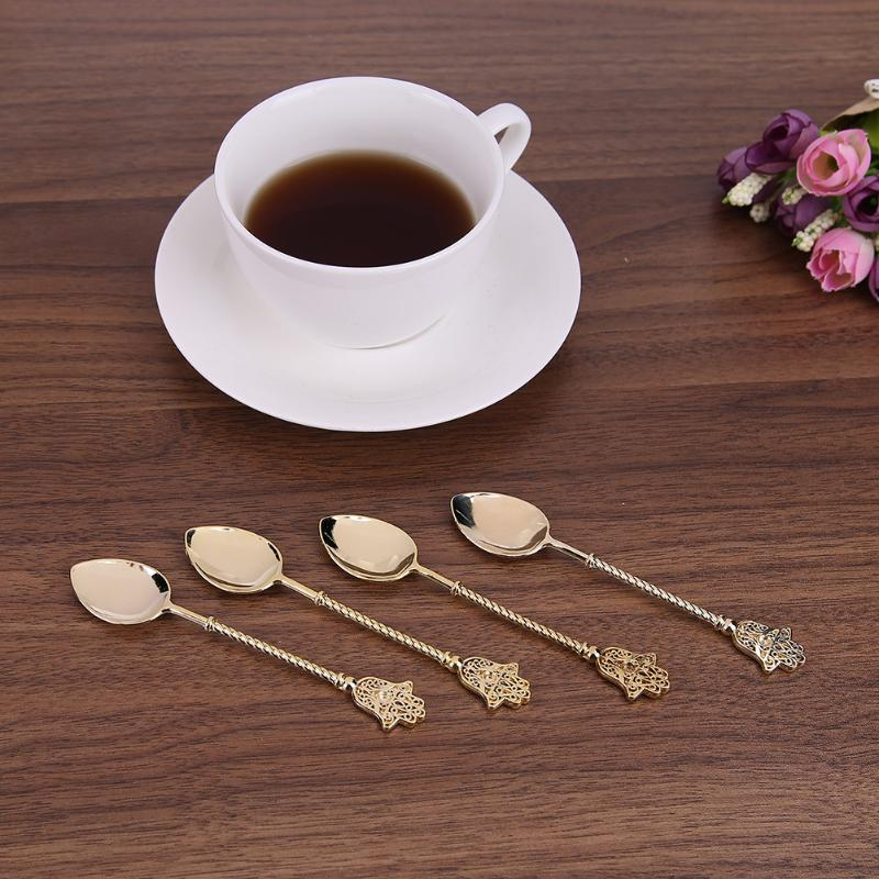 Vintage Gold Spoon Alloy Coffee Ice Cream Dessert Spoons Royal Style Q8K3 4pcs