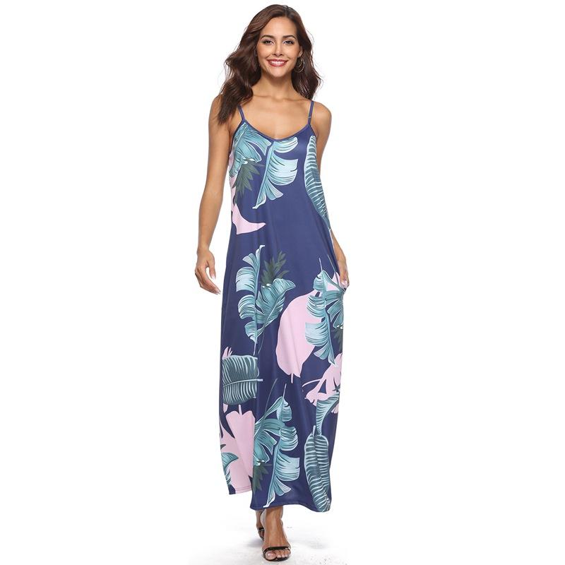 cbdbae6ab47 Women V-Neck Strap Floral Print Open Back Long Maxi Dress Beach ...