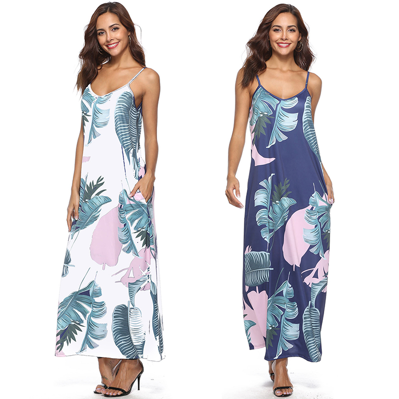 d67c975c3ee Style  Sexy   Beach Floor-Length Sleeveless Fit Style  Loose Neckline   V-neck Decoration  Floral