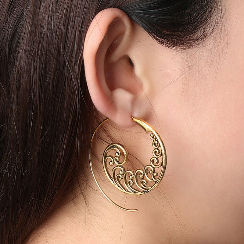 Ethnic-Bohemian-Drop-Earrings-For-Women-Spiral-Earrings-Exaggerated-Whirlpoo-2M1 thumbnail 3