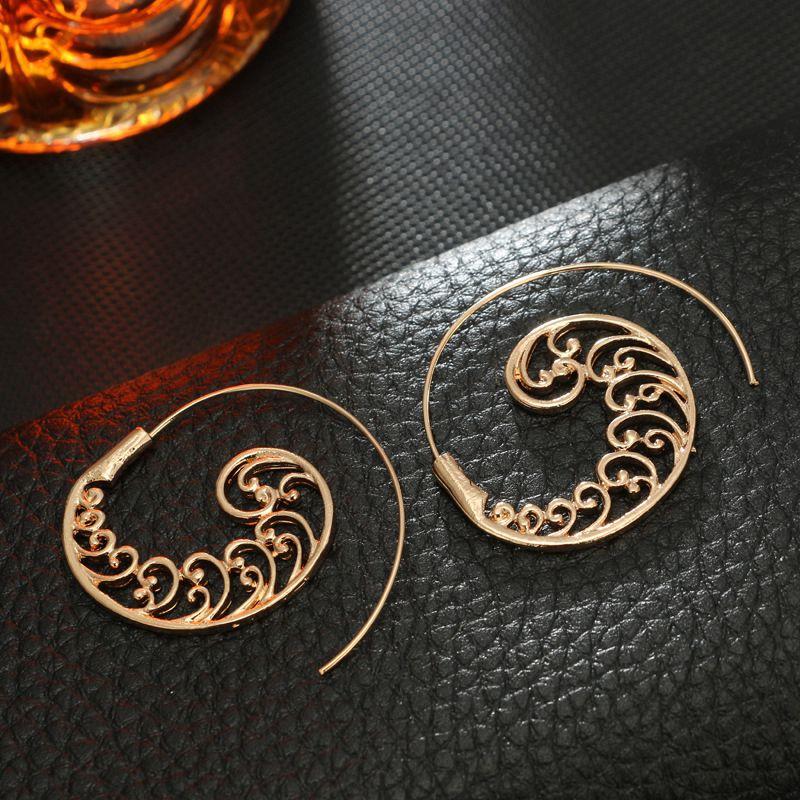 Ethnic-Bohemian-Drop-Earrings-For-Women-Spiral-Earrings-Exaggerated-Whirlpoo-2M1 thumbnail 7