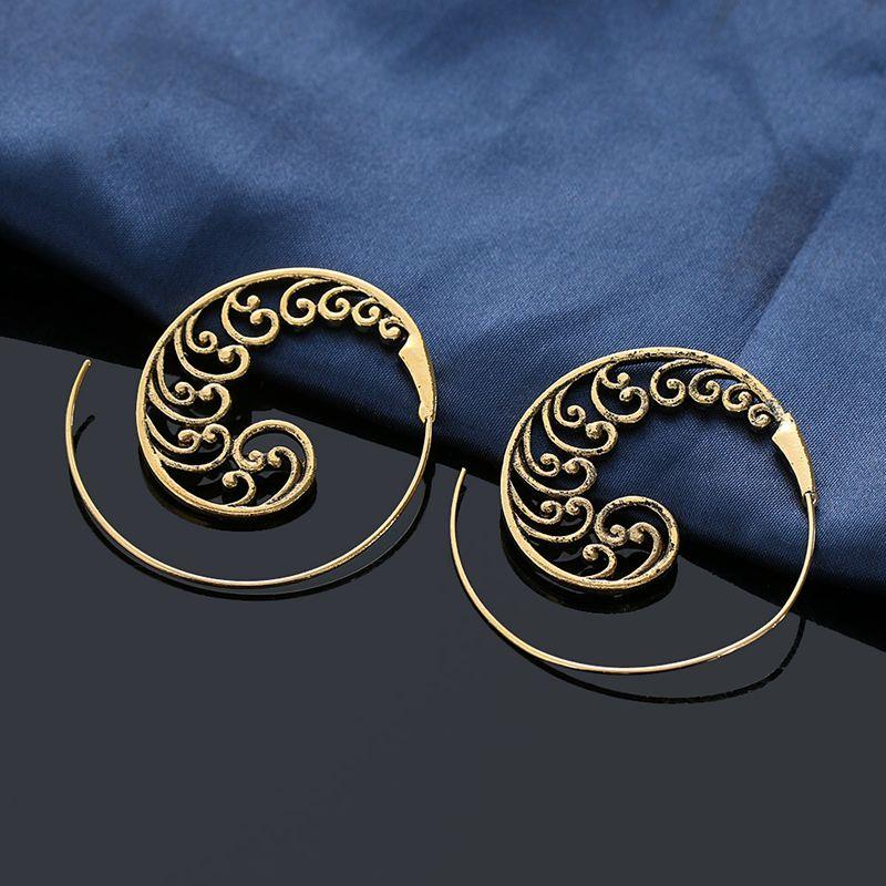 Ethnic-Bohemian-Drop-Earrings-For-Women-Spiral-Earrings-Exaggerated-Whirlpoo-2M1 thumbnail 8