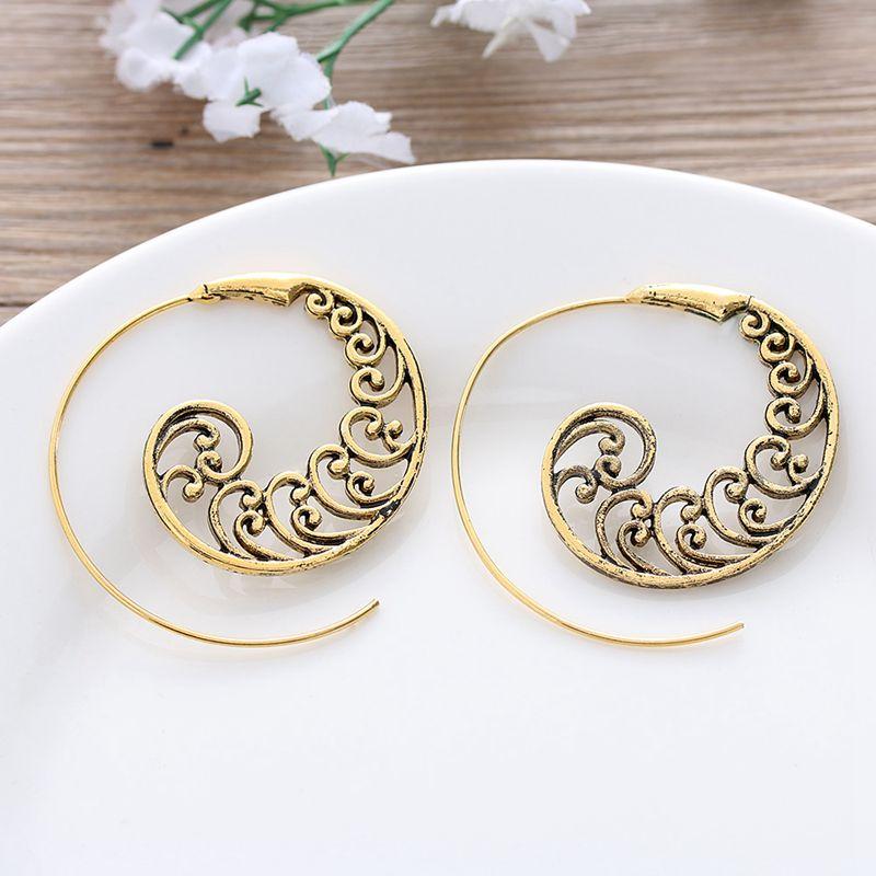 Ethnic-Bohemian-Drop-Earrings-For-Women-Spiral-Earrings-Exaggerated-Whirlpoo-2M1 thumbnail 9