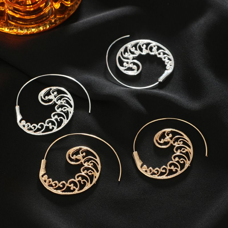 Ethnic-Bohemian-Drop-Earrings-For-Women-Spiral-Earrings-Exaggerated-Whirlpoo-2M1 thumbnail 11