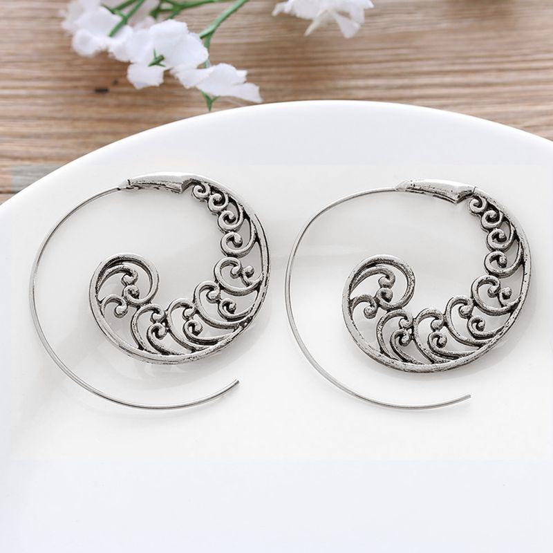 Ethnic-Bohemian-Drop-Earrings-For-Women-Spiral-Earrings-Exaggerated-Whirlpoo-2M1 thumbnail 12