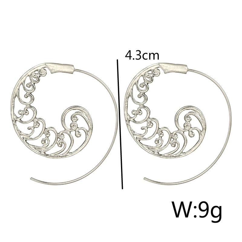 Ethnic-Bohemian-Drop-Earrings-For-Women-Spiral-Earrings-Exaggerated-Whirlpoo-2M1 thumbnail 14