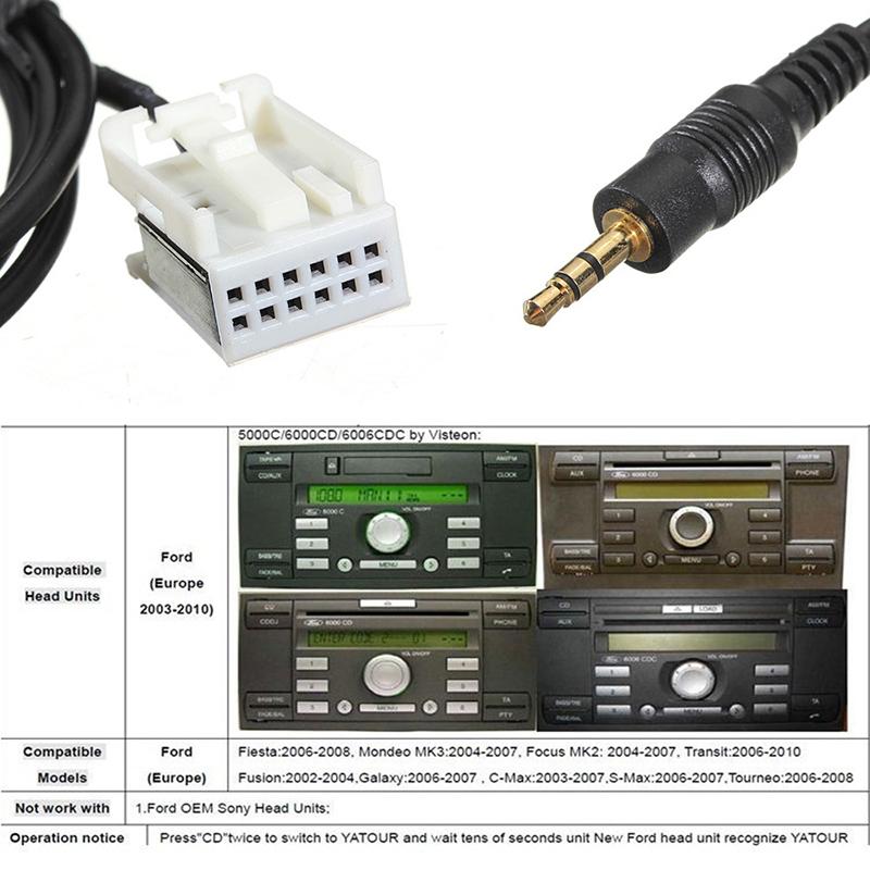 3 5 mm 6000 cd aux in input adapter kabel fuer ford focus. Black Bedroom Furniture Sets. Home Design Ideas