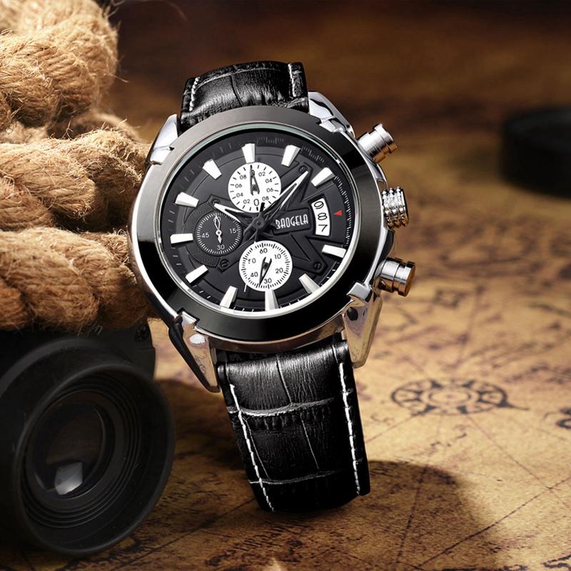 2X-BAOGELA-Herren-Chronograph-Luminous-Pointer-Fashion-Trend-Lederband-Spor-Q5D0 Indexbild 6