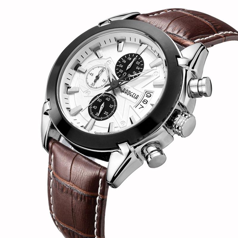2X-BAOGELA-Herren-Chronograph-Luminous-Pointer-Fashion-Trend-Lederband-Spor-Q5D0 Indexbild 14