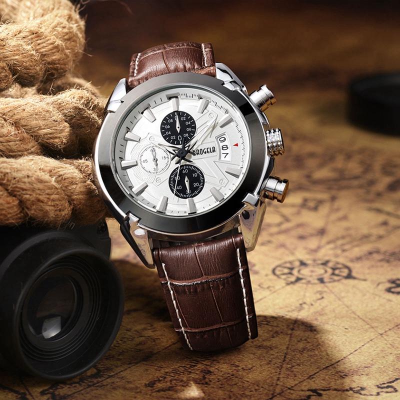 2X-BAOGELA-Herren-Chronograph-Luminous-Pointer-Fashion-Trend-Lederband-Spor-Q5D0 Indexbild 16