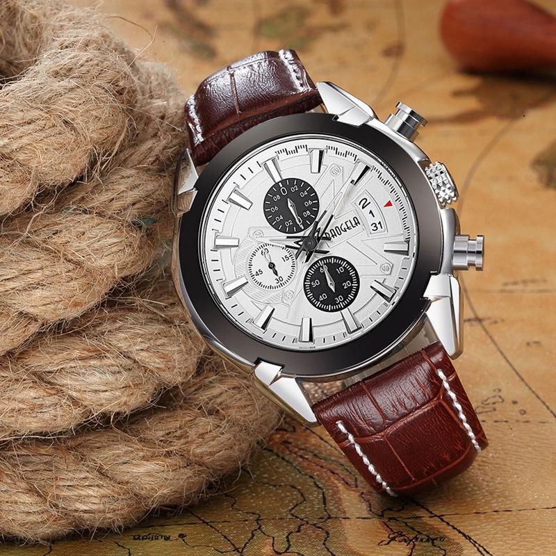 2X-BAOGELA-Herren-Chronograph-Luminous-Pointer-Fashion-Trend-Lederband-Spor-Q5D0 Indexbild 17